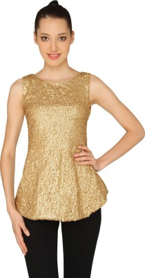 Ashtag Party, Lounge Wear Sleeveless Embellished Women's Gold Top