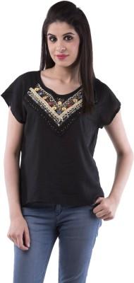 Aarr Casual Short Sleeve Solid Women's Black Top