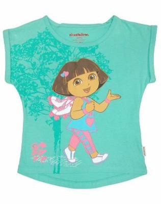 Dora Casual Short Sleeve Printed Girl's Green Top