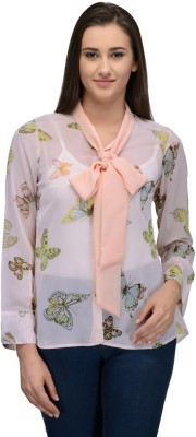Just Wow Women's Printed Casual Beige Shirt