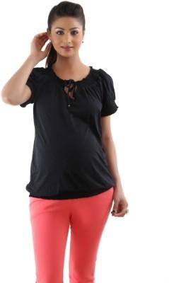 Kriti Western Maternity Casual Cape Sleeve Solid Women's Black Top