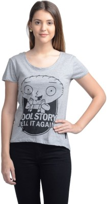 Family Guy Casual Short Sleeve Printed Women's Grey Top