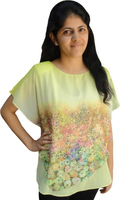 Shubh Sai Formal Cape Sleeve Floral Print Women's Yellow Top