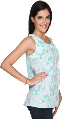 Bombay High Casual Sleeveless Printed Women's Green Top