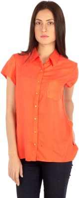 MIST ISLAND Casual Short Sleeve Solid Women's Orange Top