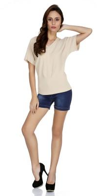 109F Casual Short Sleeve Solid Women's Beige Top