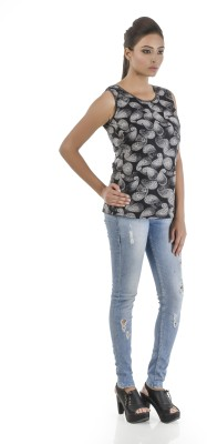 Vastra Valley Casual Sleeveless Floral Print Women's Black Top