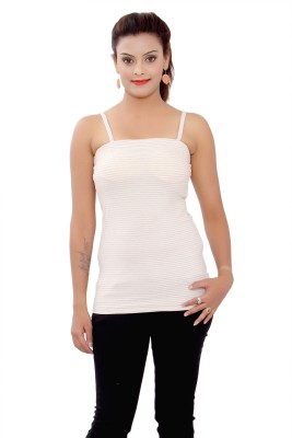 SML Casual Sleeveless Solid Women's Beige Top