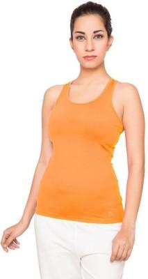 La Melodia Casual Sleeveless Solid Women's Orange Top