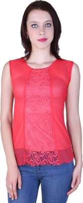 Zavi Casual Sleeveless Solid Women's Pink Top