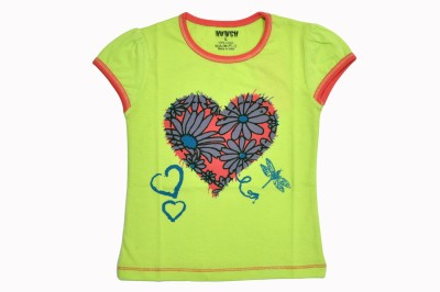 Hunch Casual Cap sleeve Graphic Print Girl's Green Top