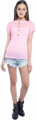 Florrie Fusion Casual Short Sleeve Solid Women's Pink Top