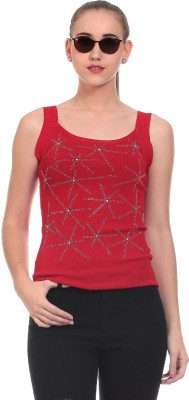 Claude 9 Casual Sleeveless Geometric Print Women's Red Top
