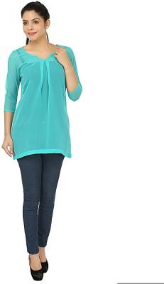 Kwardrobe Casual, Lounge Wear 3/4 Sleeve Solid Women's Blue Top