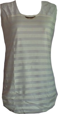 F&S Casual Sleeveless Solid Girl's White Top