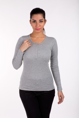 De Moza Casual Full Sleeve Solid Women's Grey Top