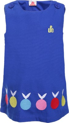 UFO Casual Sleeveless Embroidered Girl's Blue Top