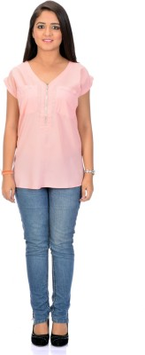 Instinct Casual, Festive Short Sleeve Solid Women,s Pink Top