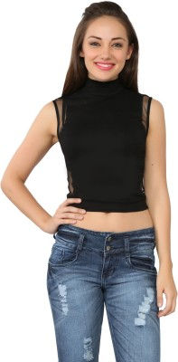 Tong Party Sleeveless Solid Women's Black Top