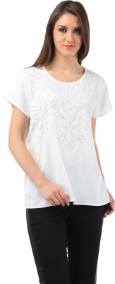 Chic Crowd Casual Cap sleeve Embellished Women's White Top