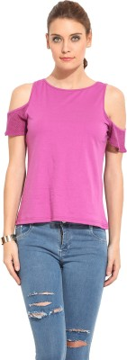 Rena Love Casual Short Sleeve Solid Women's Purple Top
