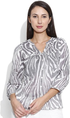 Oshea Casual 3/4 Sleeve Animal Print Women's Grey Top
