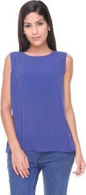 Alibi By Inmark Casual Sleeveless Solid Women,s Dark Blue Top