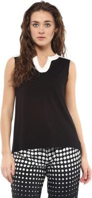 Avirate Casual Sleeveless Solid Women's Black Top