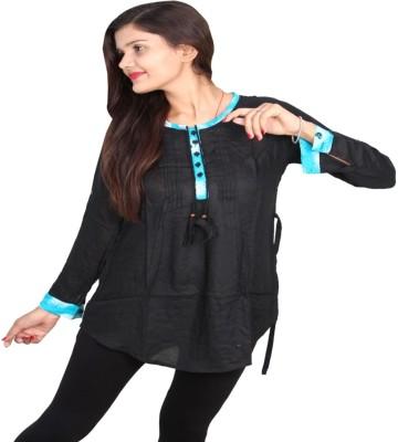 Vanya Enterprises Casual Full Sleeve Solid Women's Black Top