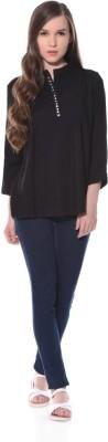 XNIVA Casual Full Sleeve Solid Women's Black Top
