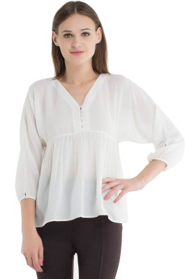 Kazo Casual Full Sleeve Solid Women's White Top