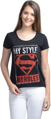 Supergirl Casual Short Sleeve Printed Women,s Black Top