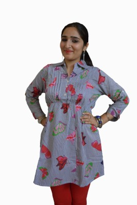 Vedic Deals Casual Full Sleeve Floral Print Women's Grey Top