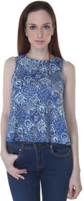 Desi Weaves Casual Sleeveless Geometric Print Women's Blue, White Top