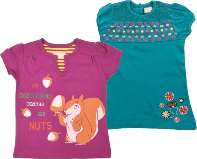 Jus Cubs Casual Short Sleeve Printed Girl's Multicolor Top