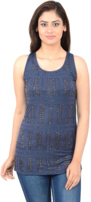 Merch21 Casual Sleeveless Embroidered Women's Dark Blue Top