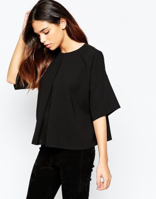 Maisha Casual Kimono Sleeve Solid Women,s Black Top