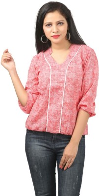 Bizzare Couture Casual 3/4 Sleeve Printed Women's Pink Top