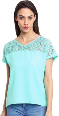 OSHEA Casual Cap sleeve Woven Women's Green Top