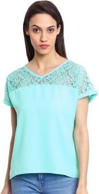 OSHEA Casual Cap sleeve Woven Women,s Green Top