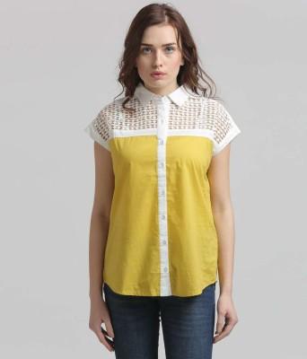 Moda Elementi Casual Short Sleeve Solid Women's Yellow Top