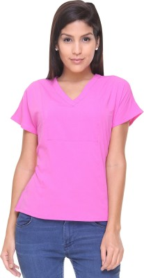 Alibi By Inmark Casual Short Sleeve Solid Women,s Pink Top