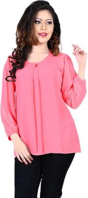 Eshantraders Casual 3/4 Sleeve Solid Women's Pink Top