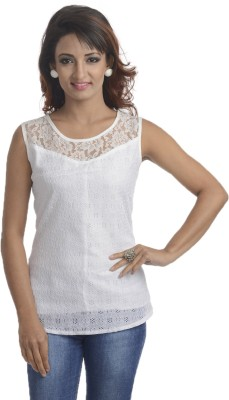 Addyvero Casual Sleeveless Solid Women's White Top