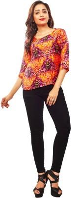 Reinvent Casual 3/4 Sleeve Self Design Women's Orange Top