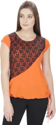 Pops N Pearls Casual Cap sleeve Solid Women's Orange Top