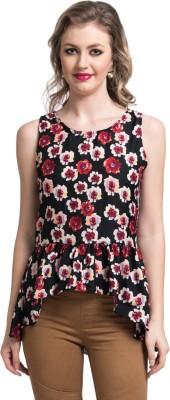 Uptownie Lite Casual Sleeveless Floral Print Women's Black Top