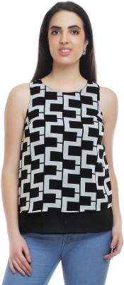 20Dresses Casual Sleeveless Geometric Print Women's Black, White Top