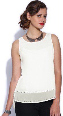 D Muse by DressBerry Casual Sleeveless Solid Women's White Top