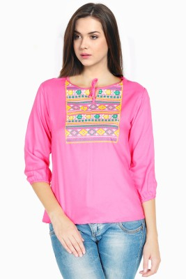 M&F Casual 3/4 Sleeve Solid Women's Pink Top